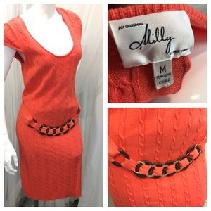 Milly of New York Coral Capsleeve Dress